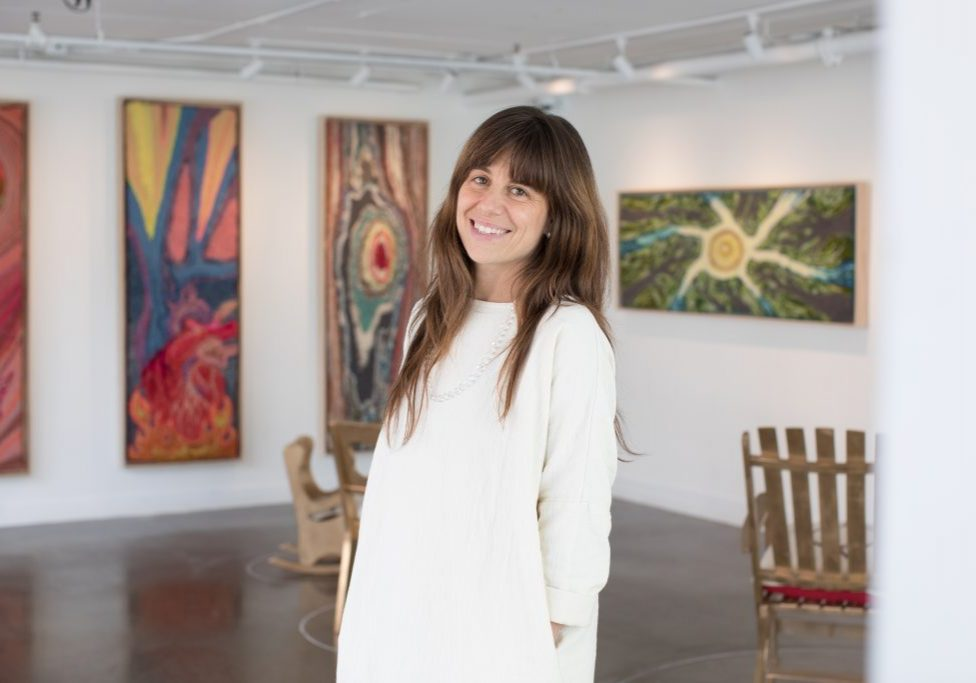 Marina Dempster at her exhibition in The Lyceum Gallery.